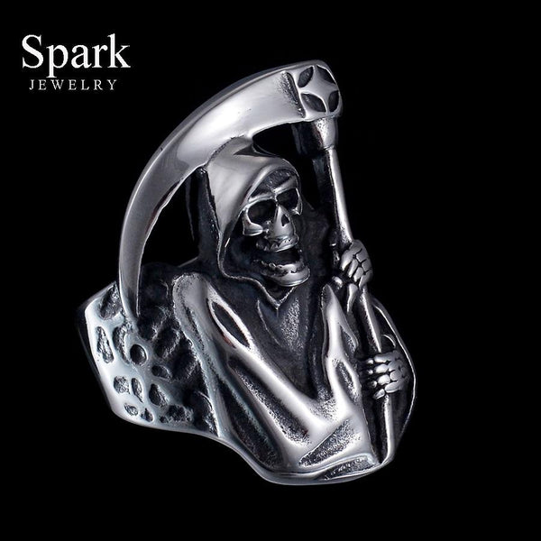 Vintage Punk Style Grim Reaper Skull Ring Stainless Steel Never Fade High Polished Biker Ring For Men Gift Bijoux