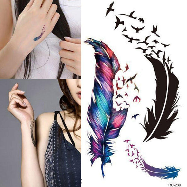 Waterproof Small Fresh Goose Feather Color Temporary Tattoos