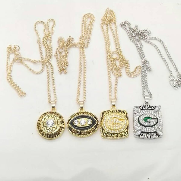 1966/1967/ 1996/2010 Green Bay  packers Super Bowl Replica world Championship pendant necklace Set