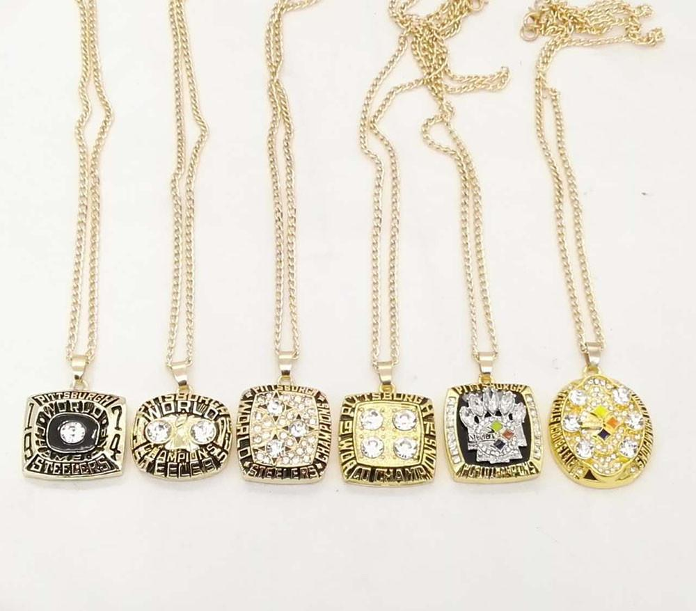 1974 1975 1978 1979 2005 And 2008 Super Bowl Pittsburgh Steelers Zinc Alloy 24K Gold Championship Necklaces