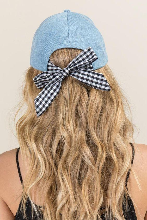 Blue Adjustable Ribbon Knot Hat
