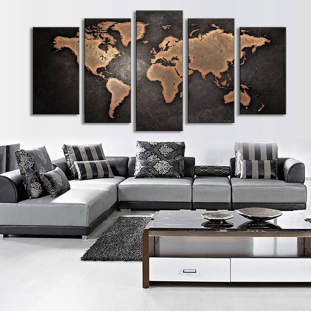 ... 5 Pcs/Set Modern Abstract Wall Art Painting World Map Canvas Painting  For Living Room ...