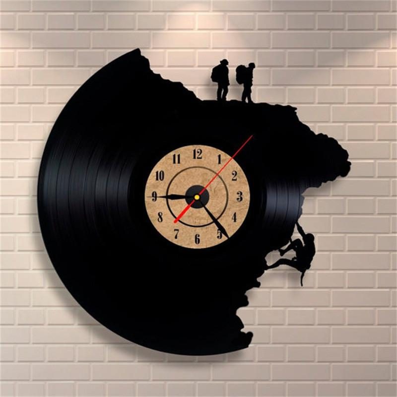 Climbing Shape Large Decorative Wall Clocks Vinyl Record Clock 3D Acrylic Art Watch Antique Style Quartz Clock Mechanism Needle