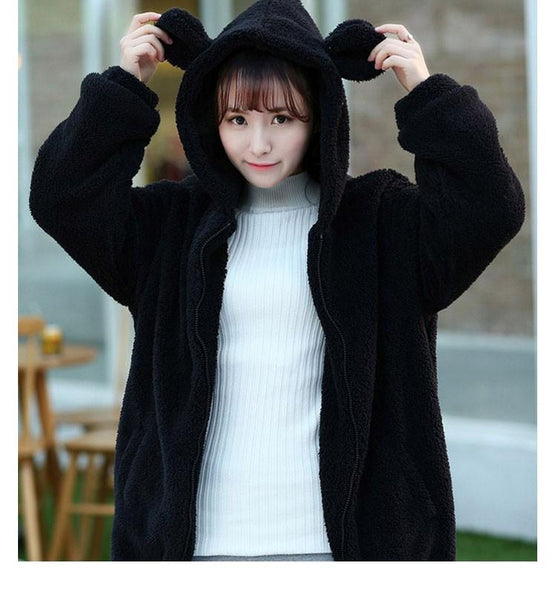 2017 Fashion Women Soft Lovely Bear Ear Fleece Warm Sweatshirts Long Sleeved Drop Shoulder Hooded Hoodies Casual Coat Outwear