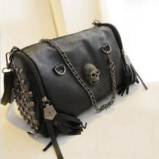 New 2016 Fashion European and American Style Women Handbags Tassel Skull Chain bag PU leather Shoulder Messenger bags