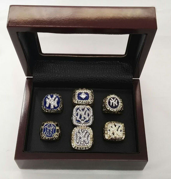 MLB 7pcs set 1977 1978 1996 1998 1999 2000 2009 New York World Series Yankees Championship ring With Wooden Boxes