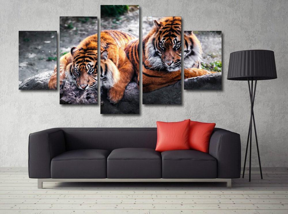 Canvas Print Painting Tigers Chilling Painting for Living Room Decor Wall Art Picture HD Printed Picture Free Shipping DW4084
