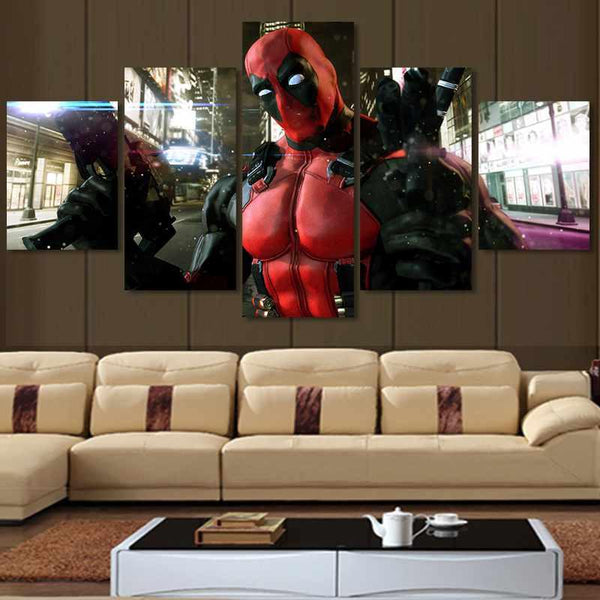 5 piece Modern HD Printed Deadpool Mask Gun Home Decor For Living Room Painting On Canvas Wall Art Picture Cuadros Decoracion
