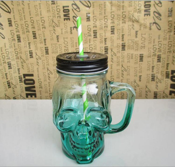 Skull Mason Jar Glass Mug Handle Creative Hot Selling Mason Cup For Drinking Beer