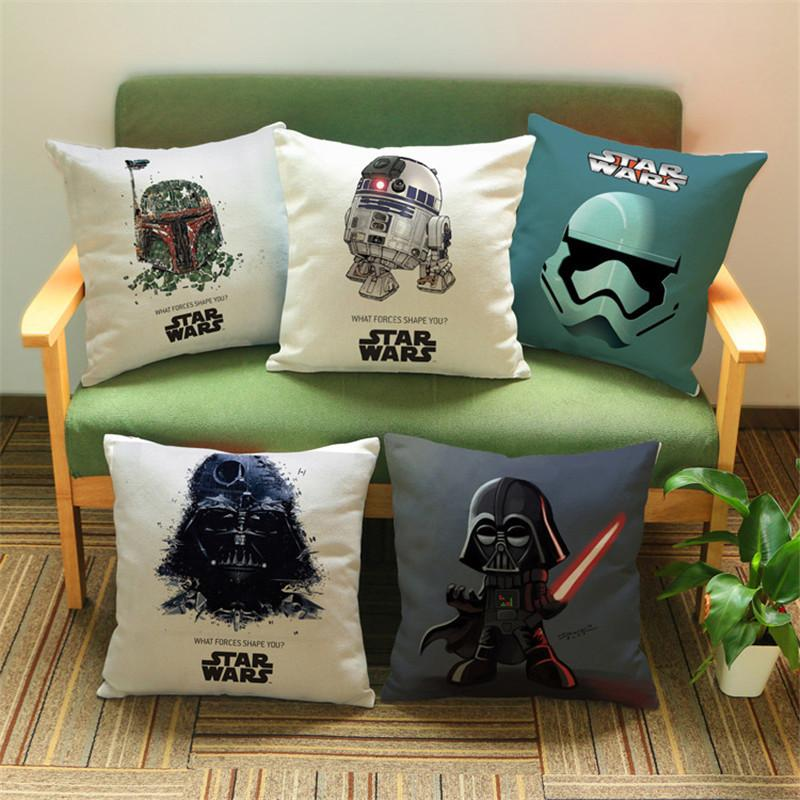 Free shipping Star Wars cartoon cotton Linen decorative cushion cover Sofa Throw Pillow Cover Chair Car  Pillow Case