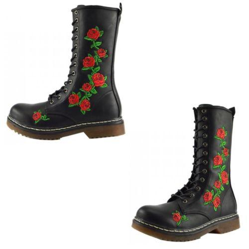 Womens Ladies Retro Floral Knee High Biker Gothic Lace up Long Ankle Boots Size