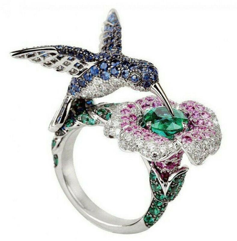 Extremely Detailed 6.5CT Gemstone .925 Silver Hummingbird Ring