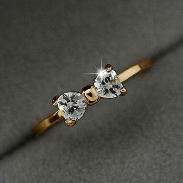 Hot Fashion Crystal Gold Plated Finger Bow Wedding Engagement Zircon Ring Hot