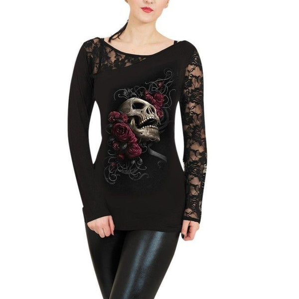 Women Lace Skull Print T shirts Blouse Long Sleeve Crewneck Casual Tops Clothes