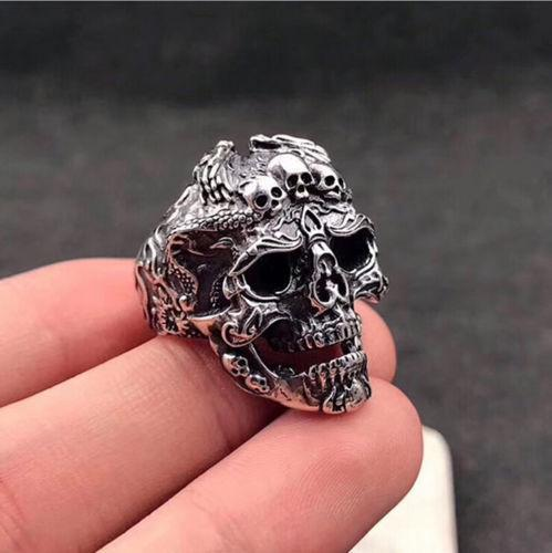 Men's Stainless Steel Silver Fashion Cool Gothic Punk Skull Finger Rings Jewelry