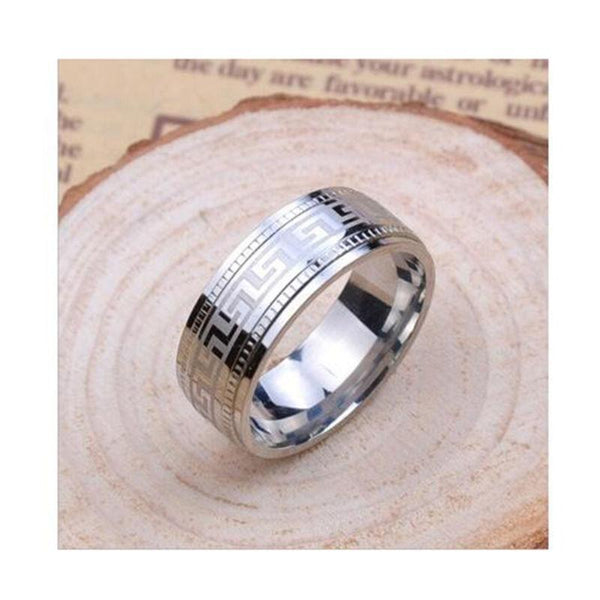 Fashion Cool Men 's Titanium Steel Pattern Ring Stainless Steel Ring
