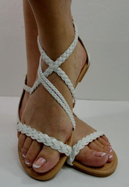 Ultimate Women's Braided Flat Gladiator Sandal Thong Flip Flops Y- Strap Style