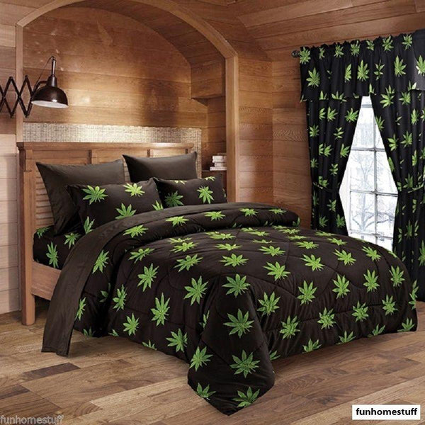 BUD 420 HERB POT WEED LEAF MICROFIBER BED SHEETS SUPER SOFT SHEET SET