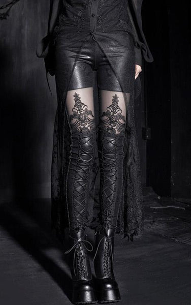 New PUNK RAVE Gothic Embossed Decorative Pattern Black Leggings