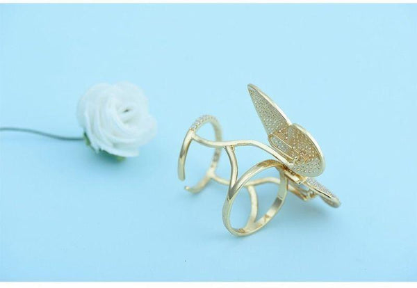 Woman  Active Butterfly Ring Clear Cubic Zirconia Paved Luxury Moving Gift
