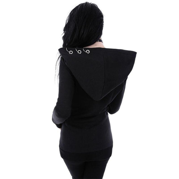 Gothic Women's Girls Punk Solid Hooded Sweat Hoodies Jacket Coat Cosplay Black