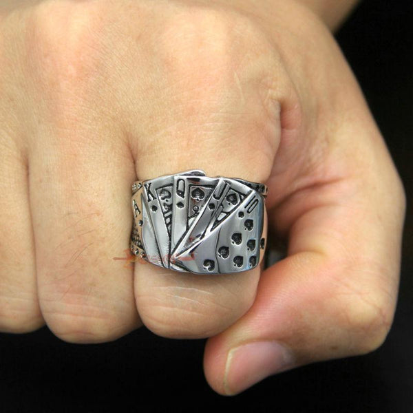 Casino Card Game Men Ace Of Spades Poker Lucky Ring Stainless Steel 10 J Q K A