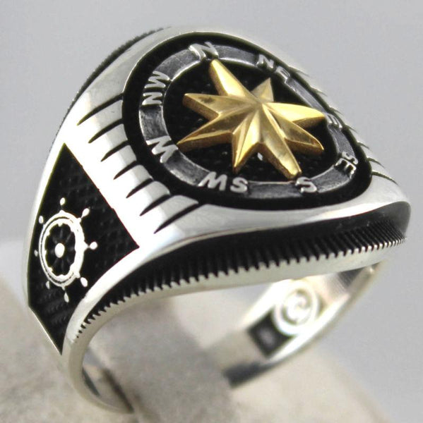 Handmade 925 Sterling Silver Compass Style Anchor Sail Navigate & Helm Men Ring