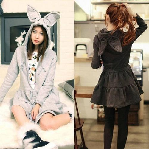 2018 Big Rabbit Ears  Harajuku Amo Lolita  Cute Sweater Hoodies Dress