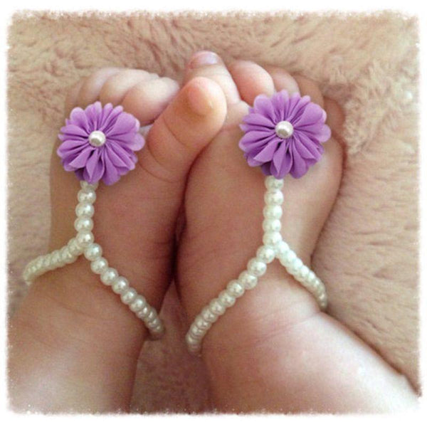 Newborn Infant Kids Baby Girl Sole Crib Barefoot Ring Sandals Flower Pearl Shoes