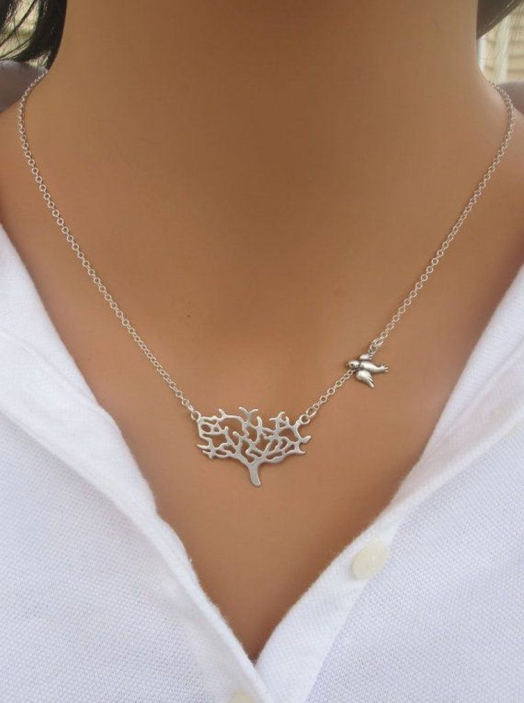 Orchid/Bird Necklace