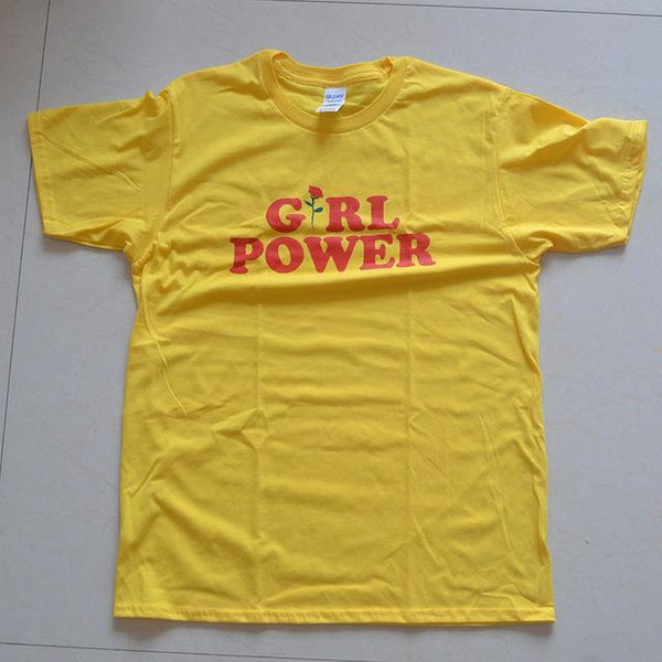 Summer Girl Power Rose T Shirt Letter White Yellow Grey Black Cotton Ladies T-Shirt flowers Tops