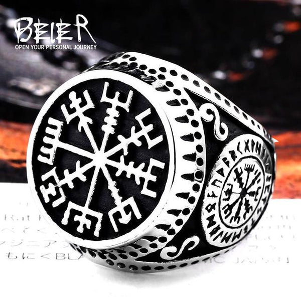 Stainless Steel Nordic Viking Ring Custom Rune beads Signet wolf Scandinavn Odin Symbol Jewelry