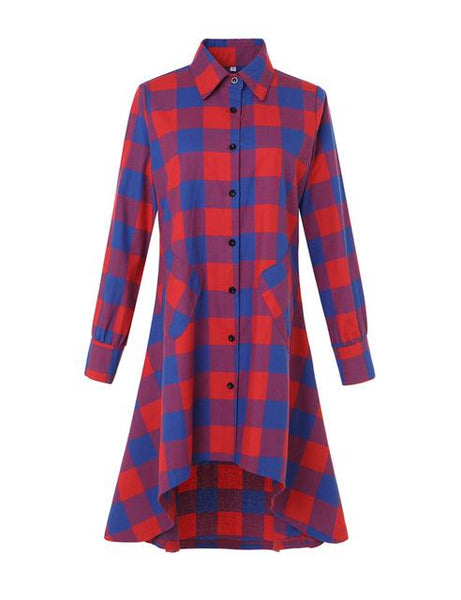 Olrain Women's Fashion Blue Black Plaid Oversize Loose Asymmetrical Long Sleeve T Shirt Dress Casual Loose Blouse Tops