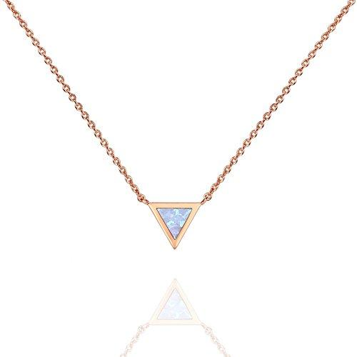PAVOI 14K Gold Plated Triangle Bezel Set Pink/White/Green/Blue Created Opal Necklace 16-18
