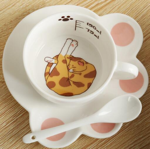 Cute Cartoon Cat Paw Mug Set