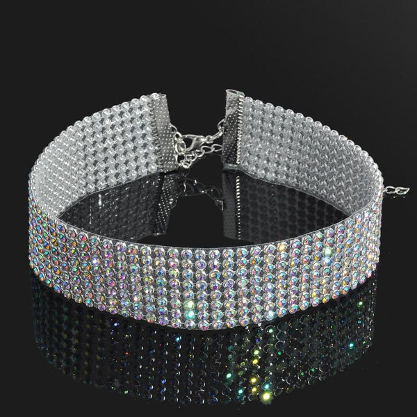 Luxurious Silver Plated Charming Full Rhinestone Collar Choker Necklace