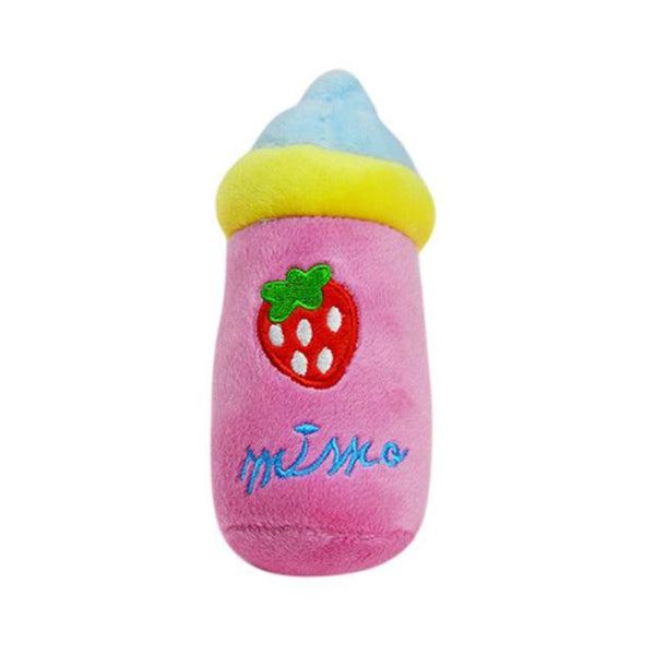 Pet Chew Squeaker Squeaky Plush Sound Fruits Vegetables And Feeding Bottle Dog Toys 13 Designs