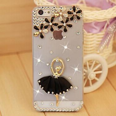 Rhinestone Case Cover For Iphone Black Ballerina