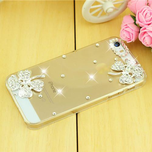 Rhinestone Case Cover For Iphone Dual Flower