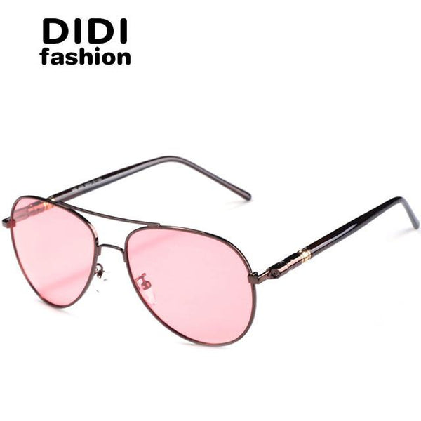 DIDI Polarized Day & Night Driving Sunglasses Men Pilot Red Lens Copper Frame Glasses Women Brand Designer Eyewear Oculos H610