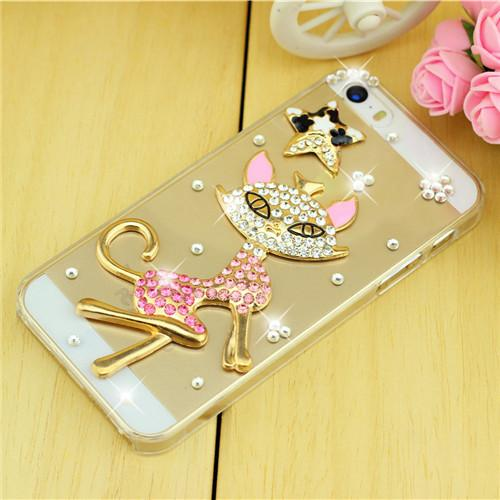 Rhinestone Case Cover For Iphone Sexy Cat