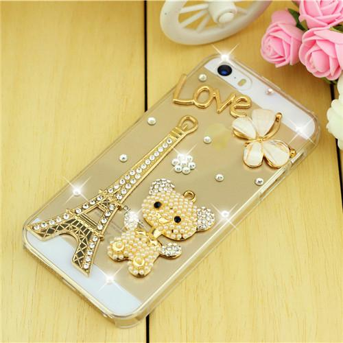 Rhinestone Case Cover For Iphone Love Tower
