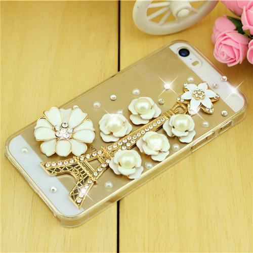 Rhinestone Case Cover For Iphone Floral Tower