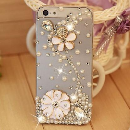 Rhinestone Case Cover For Iphone Floral
