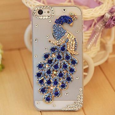 Rhinestone Case Cover For Iphone Blue Peacock