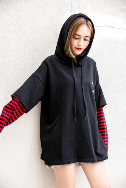 RARE Winter Striped Patchwork Women's Hoodies Hooded Harajuku Female Sweatshirt Korean Casual Ladies Sweatshirts Fake two pieces