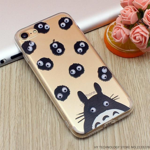 3D Eye Move Mouse Cat French Fries Banana Popcorn Soft  Cases