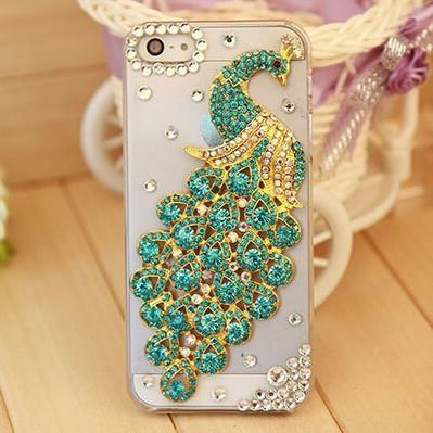 Rhinestone Case Cover For Iphone Green Peacock