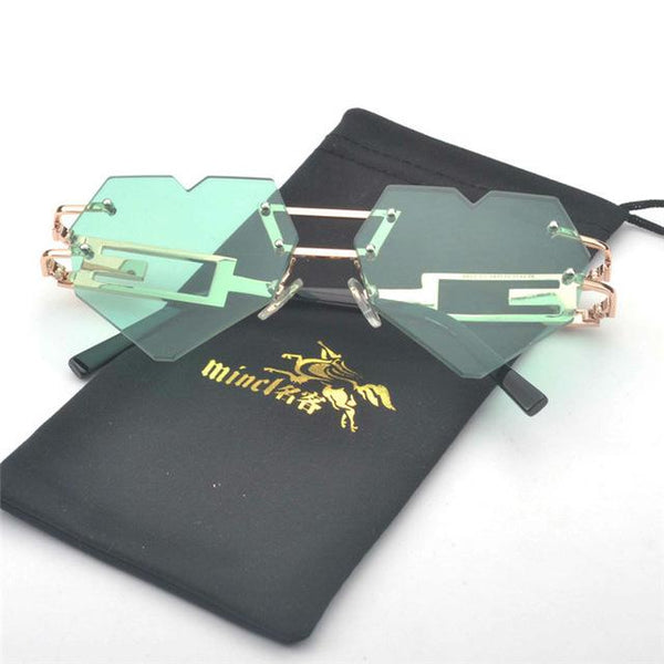 MINCL/ Heart Shaped Sunglasses Fashion Women Men  metal  oculos de sol rimless sunglasses