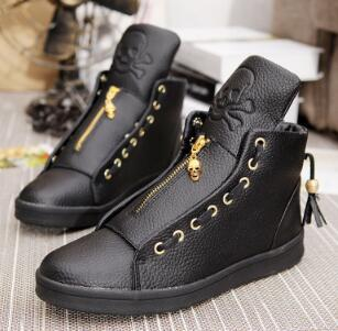 High-Top Casual Shoes White Lace